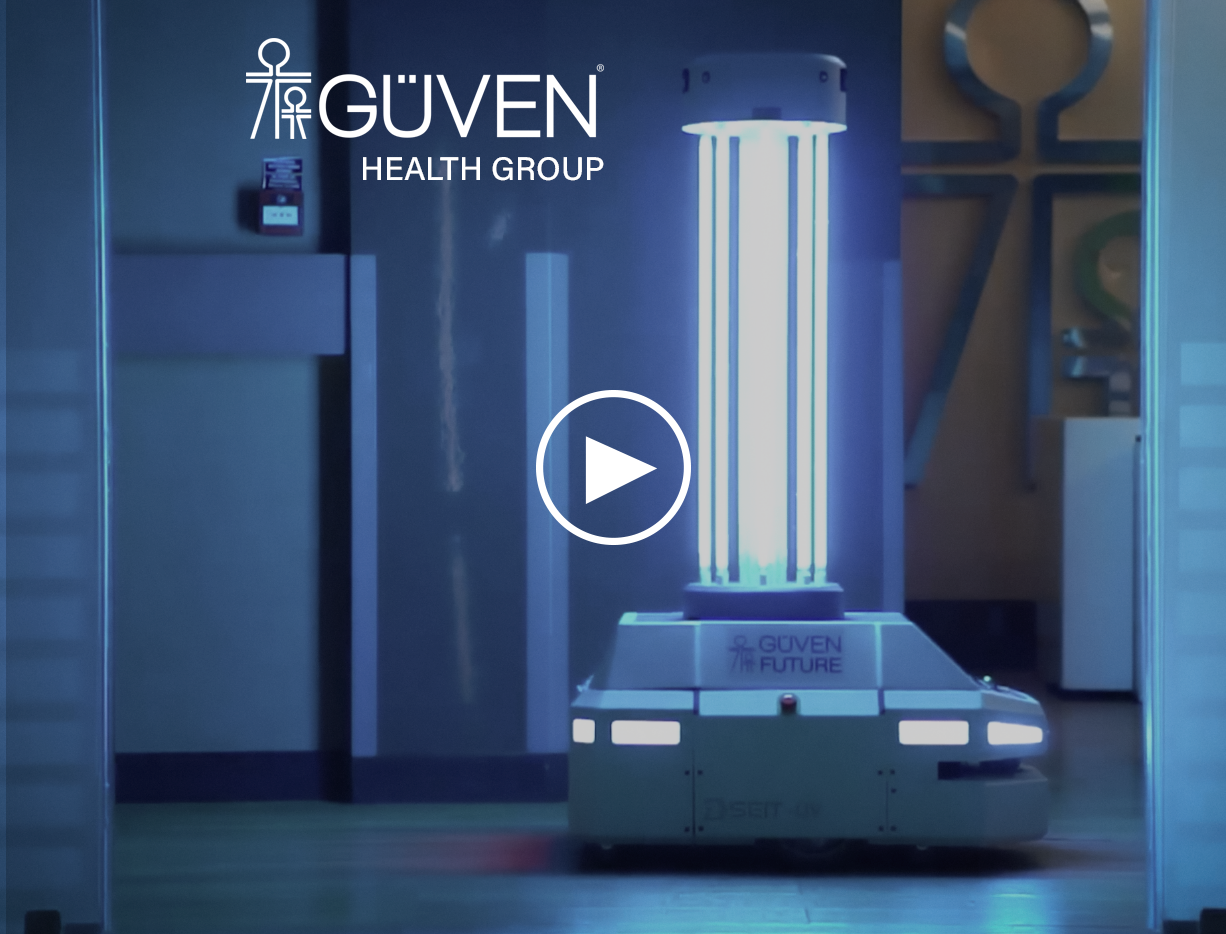 SEIT-UV robot is autonomously disinfecting patient rooms with UVC light in Ankara Güven Hospital