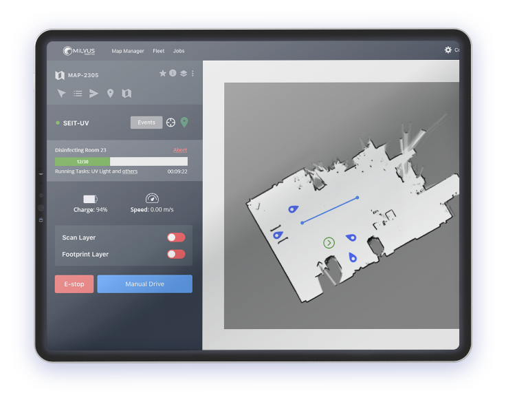 Milvus Fleet Manager, fleet management system for autonomous mobile robots